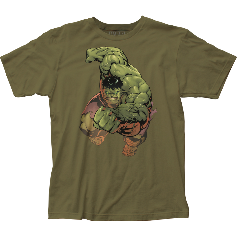 The Incredible Hulk Superhero Marvel Comics Punch Adult Fitted Jersey TShirt Tee