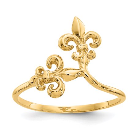 Fleur De Lis Solid Ring - 14k Yellow Gold Fleur De Lis Band Ring Size 6.50 Gifts For Women For Her