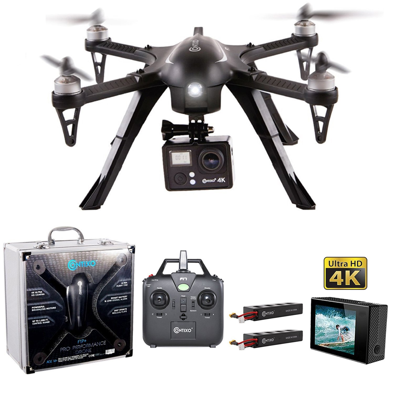 Contixo F17+ RC Quadcopter Drone 2.4Ghz 6-Axis Gyro 4 Channels, 4k Ultra HD camera included, 18 min Flight Time, Hardcase Included