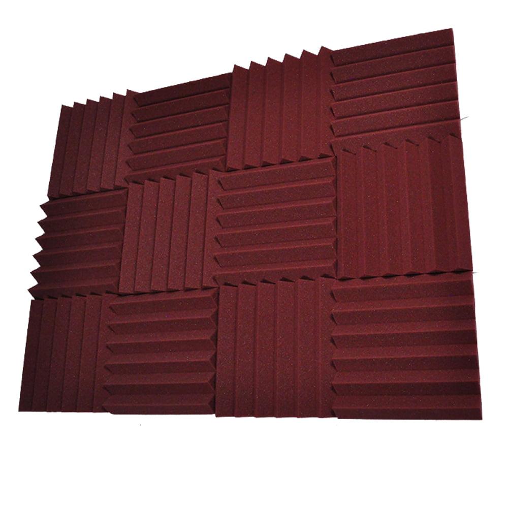 Seismic Audio 12 Pack Burgundy 2 Inch Studio Acoustic Foam Sheets - Sound Absorbing Dampening Tiles Burgundy - SA-FMDM2-Burgundy-12Pack