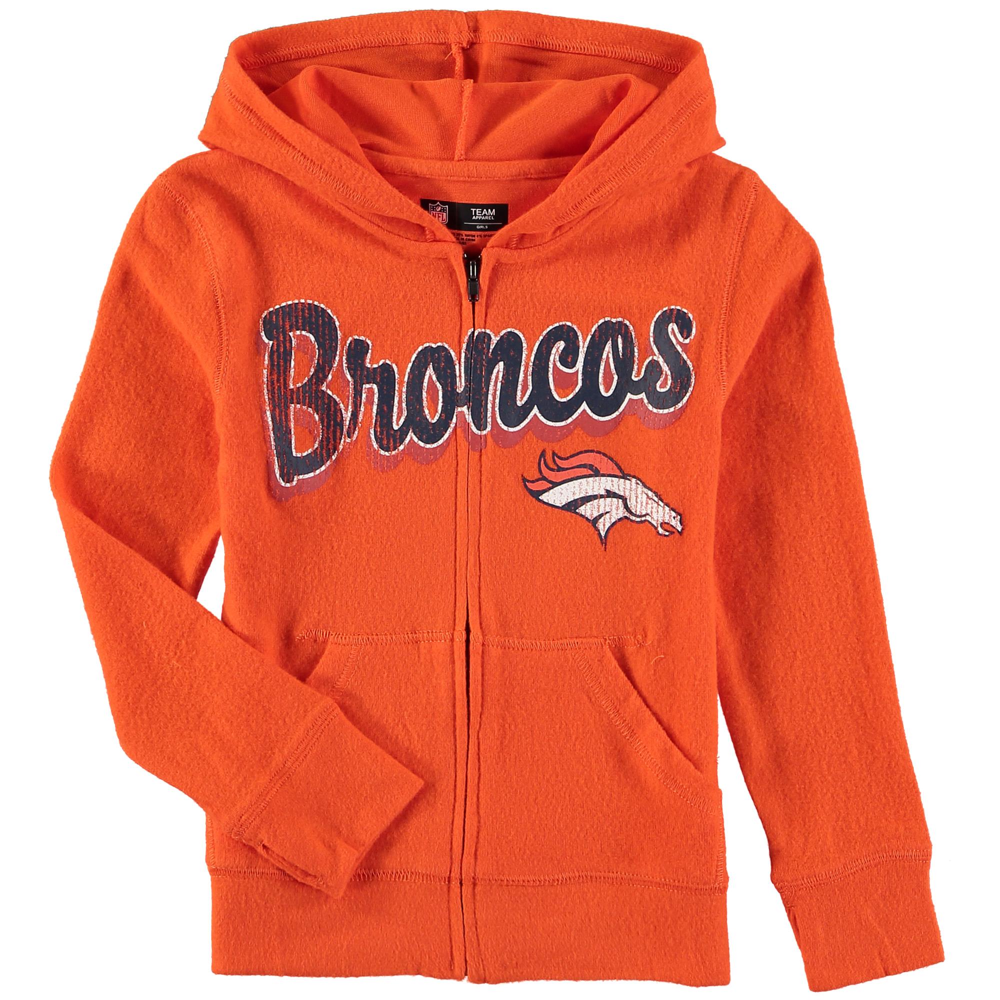 Denver Broncos 5th & Ocean by New Era Girls Youth Brushed Knit Tri-Blend Full-Zip Hoodie - Orange