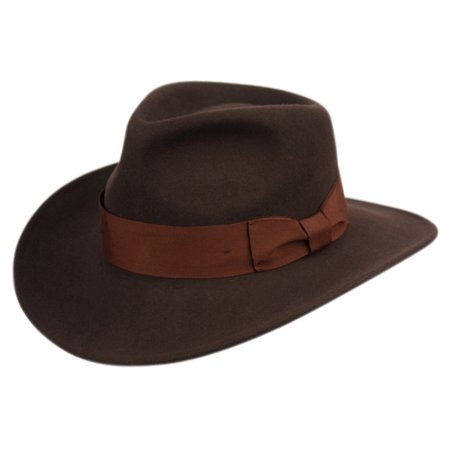 Premium Wool Felt Indiana Jones Crushable Fedora Hat w/Grosgrain Band Cowboy Hat Vel Felt Fedora