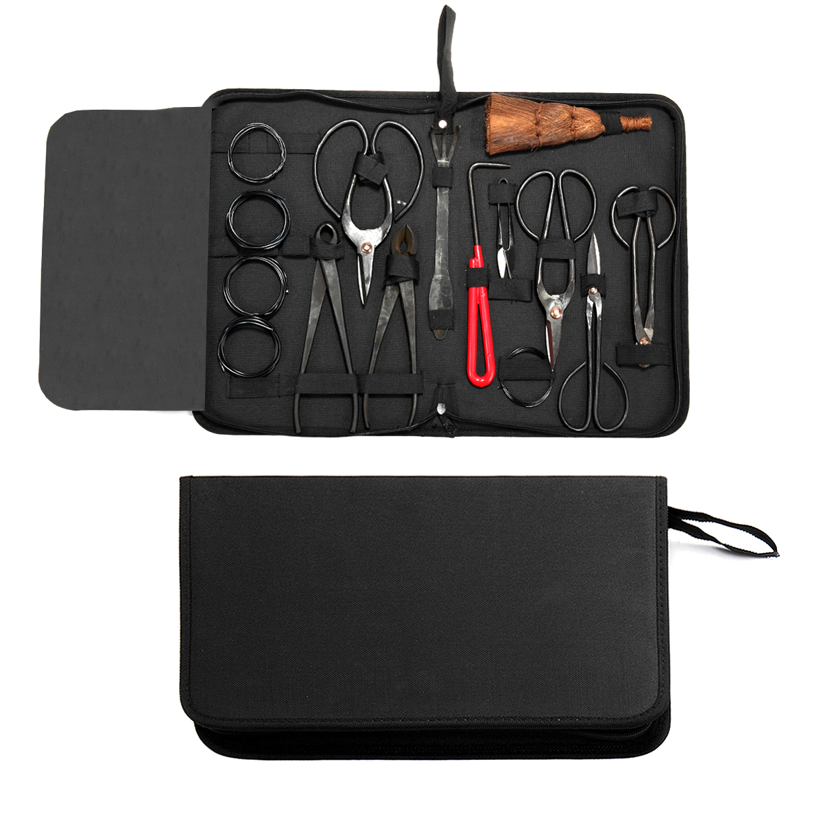 10 Pcs Bonsai Tool Kit Carbon Steel Garden Hand Pruning Branch Cutter Scissors w/ Tool Roll Wire and Nylon Case