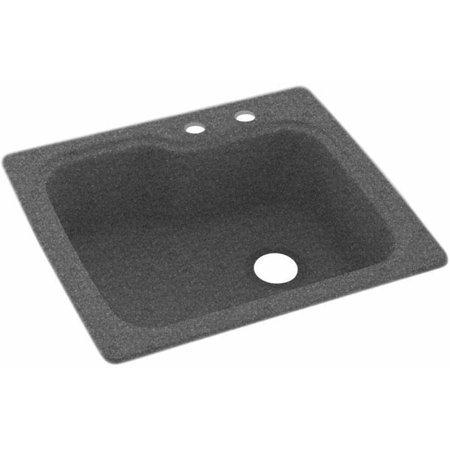 Swan solid surface kitchen sink 25 x 22 with 2 faucet for Solid surface kitchen sink