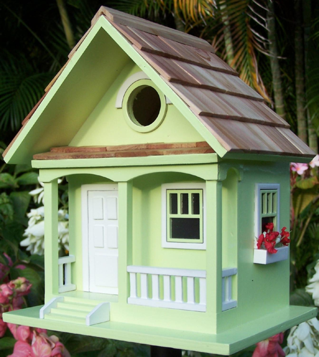 "9.5"" Fully Functional Lime Green Cottage Outdoor Garden Birdhouse by Bird Houses"