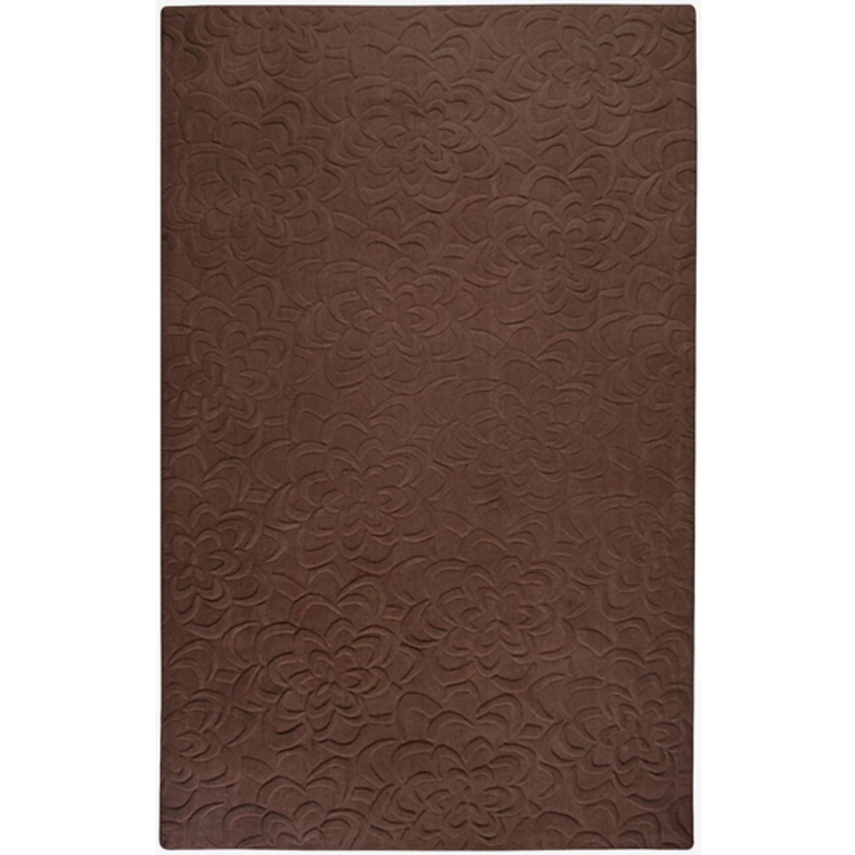 9' x 13' Bas-Relief Bouquet Brown Wool Rectangular Area Throw Rug