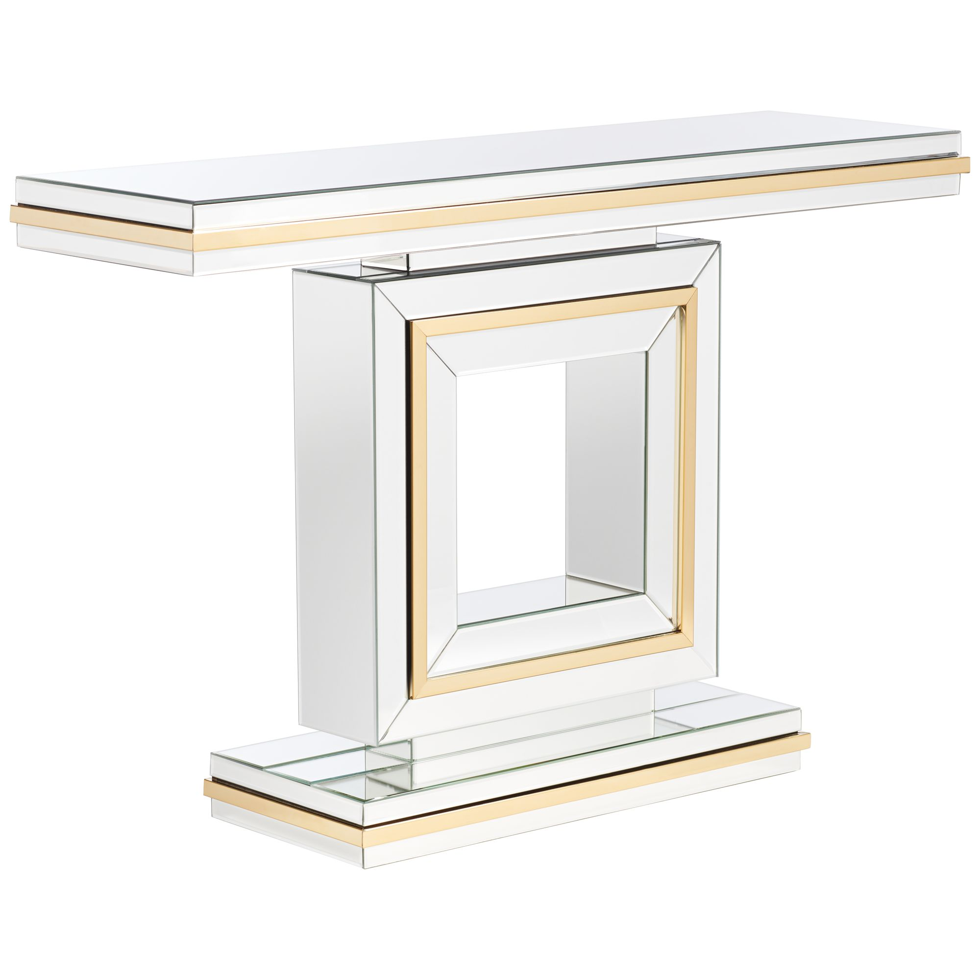 Studio 55D Laila Gold-Trimmed Mirrored Console Table