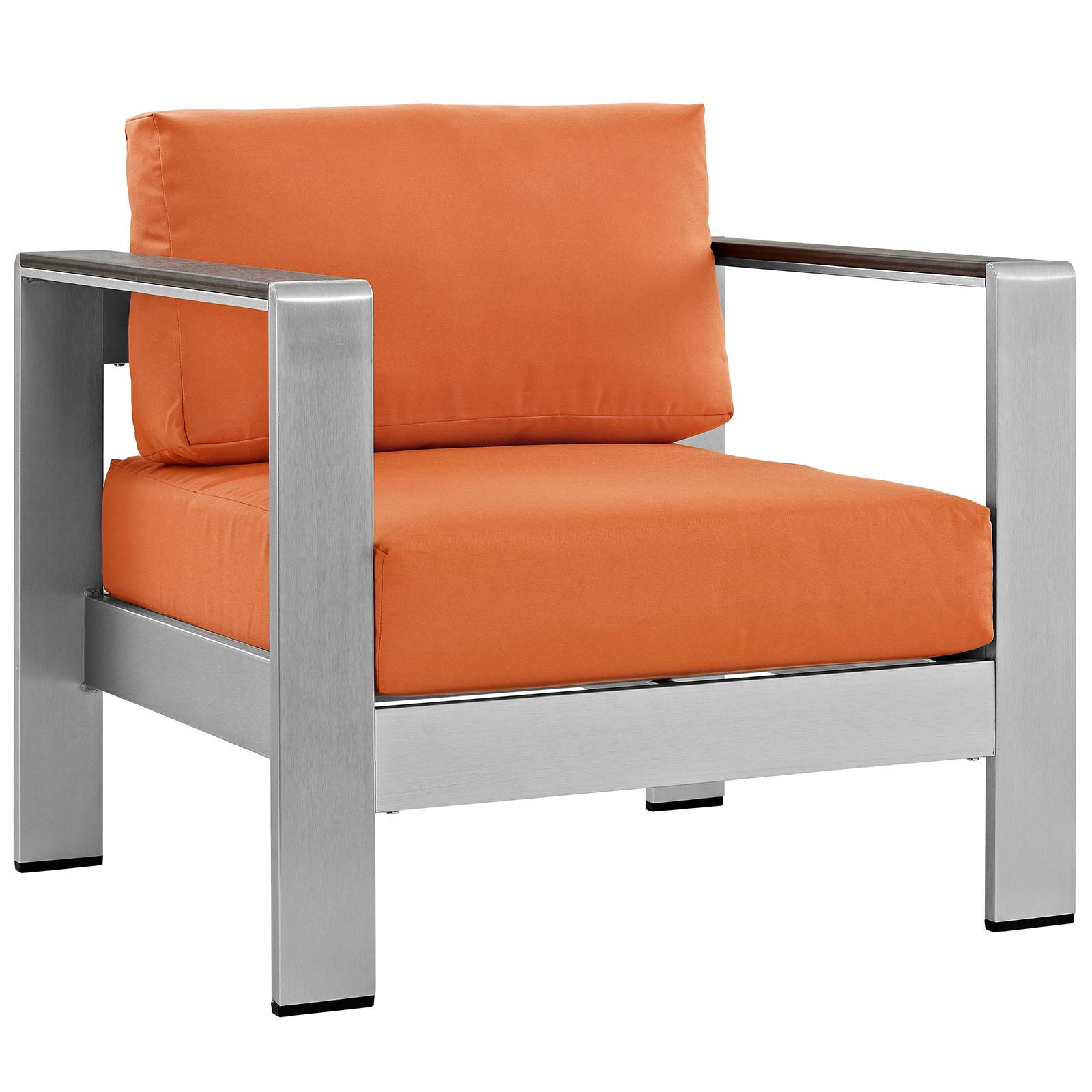 Modern Contemporary Urban Design Outdoor Patio Balcony Lounge Chair, Orange, Metal Aluminum