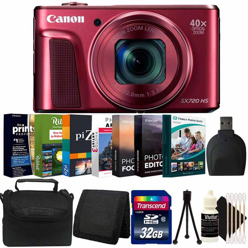 Canon Powershot SX720 HS 20.3MP Digital Camera Red with Photo Software Accessory Kit