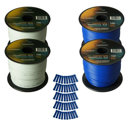 Harmony Audio Primary Single Conductor 16 Gauge Power or Ground Wire - 4 Rolls - 400 Feet - White & Blue for Car Audio / Trailer / Model Train / (Best Car Audio Power Wire)