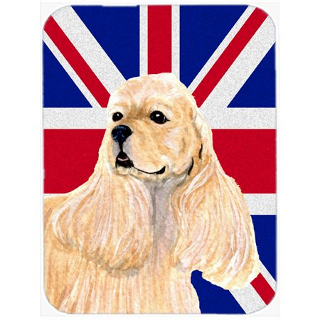 Caroline's Treasures Cocker Spaniel Buff with English Union Jack British Flag Glass Cutting Board Large (What Are Buffs Glasses)