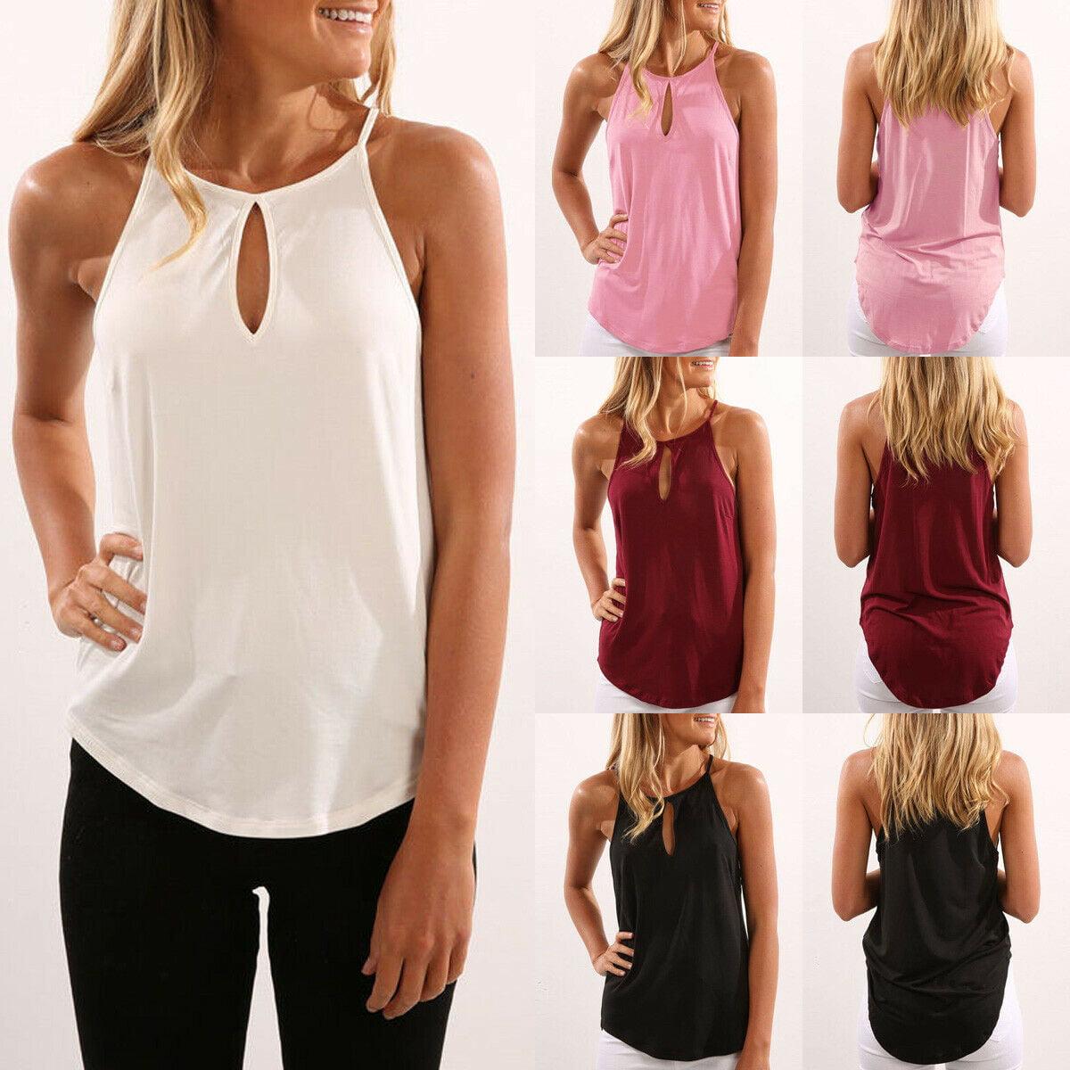 Women Summer Vest Tops Sleeveless Shirt Blouse Casual Tank Tops T-Shirts Halter Neck Sun-top