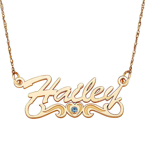 Personalized Women's 10kt Gold Script Birthstone Heart Tail Name Pendant, 18""