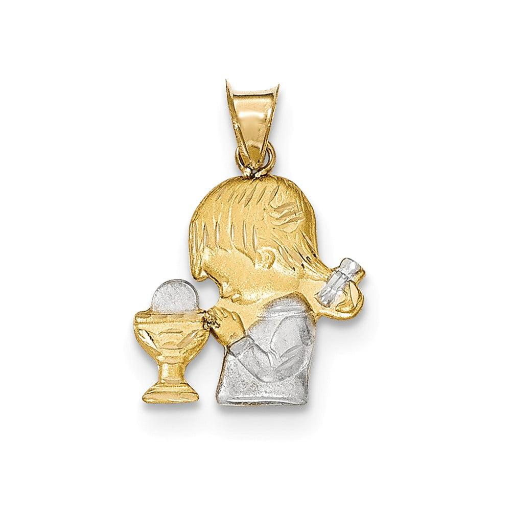 14k Yellow Gold & Rhodium Satin and Polished Girl Communion Pendant