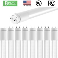 Sunco Lighting 8 Pack 4FT 48 Inch T8 Tube LED Light Bulbs 18 Watt (40 Equivalent) Frosted 5000K Kelvin Daylight 2200LM Bright White Light Single Sided Connection Bypass Ballast - ETL & DLC LISTED