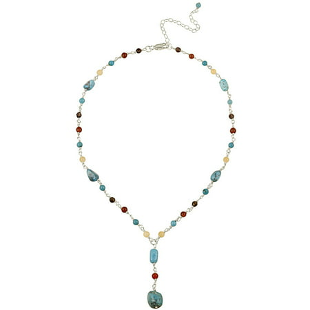 Aragonite, Carnelian, Smoky Quartz and Created Turquoise Chips and Nuggets Sterling Silver Drop Lariat Necklace,