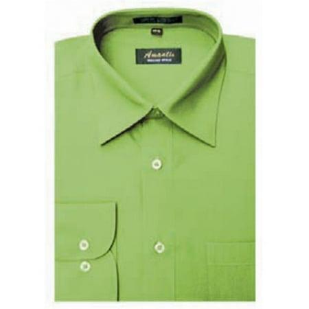 Amanti cl1021 22x36 37 amanti mens wrinkle free apple for Apple green dress shirt