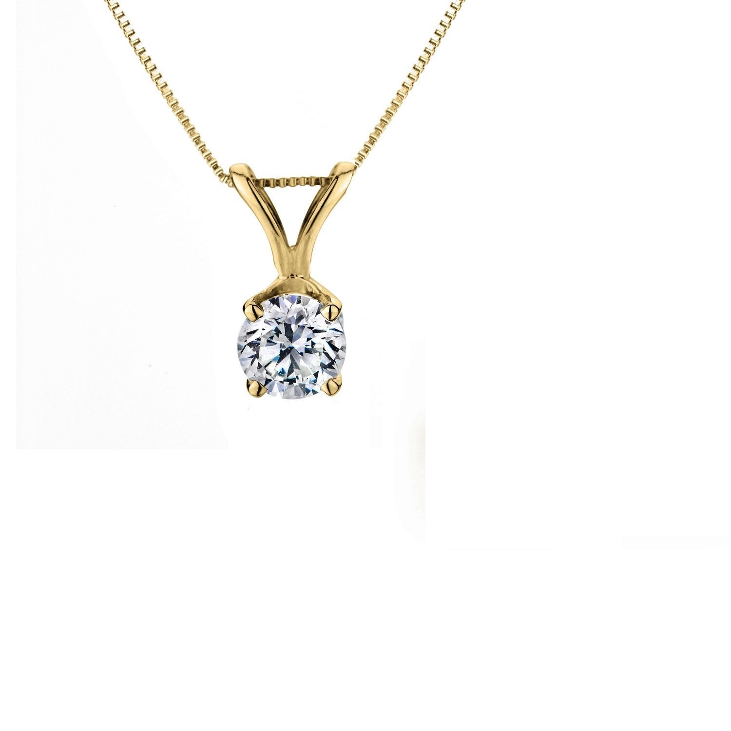 Genuine 1 2 Carat Natural Solitaire Round Cut Diamond 4 Prong Pendant Necklace In 14K Yellow Gold by Diamond Princess