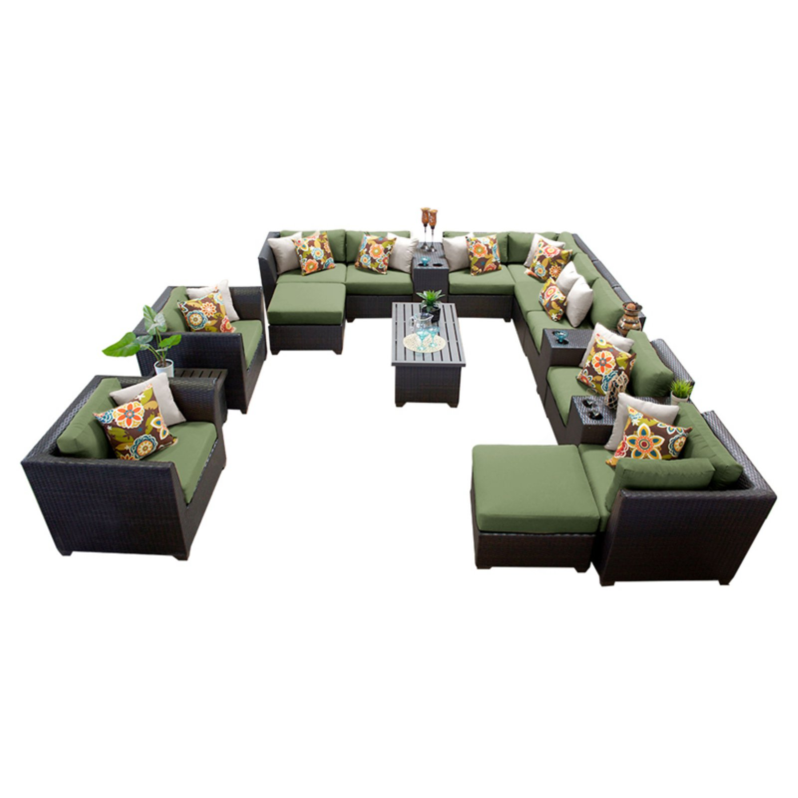 TK Classics Barbados Wicker 17 Piece Patio Conversation Set with Ottoman with 2 Sets of Cushion Covers