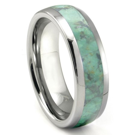 Tungsten Carbide Emerald Green Metamorphic Stone Inlay Dome Wedding Band Ring Sz 10.0