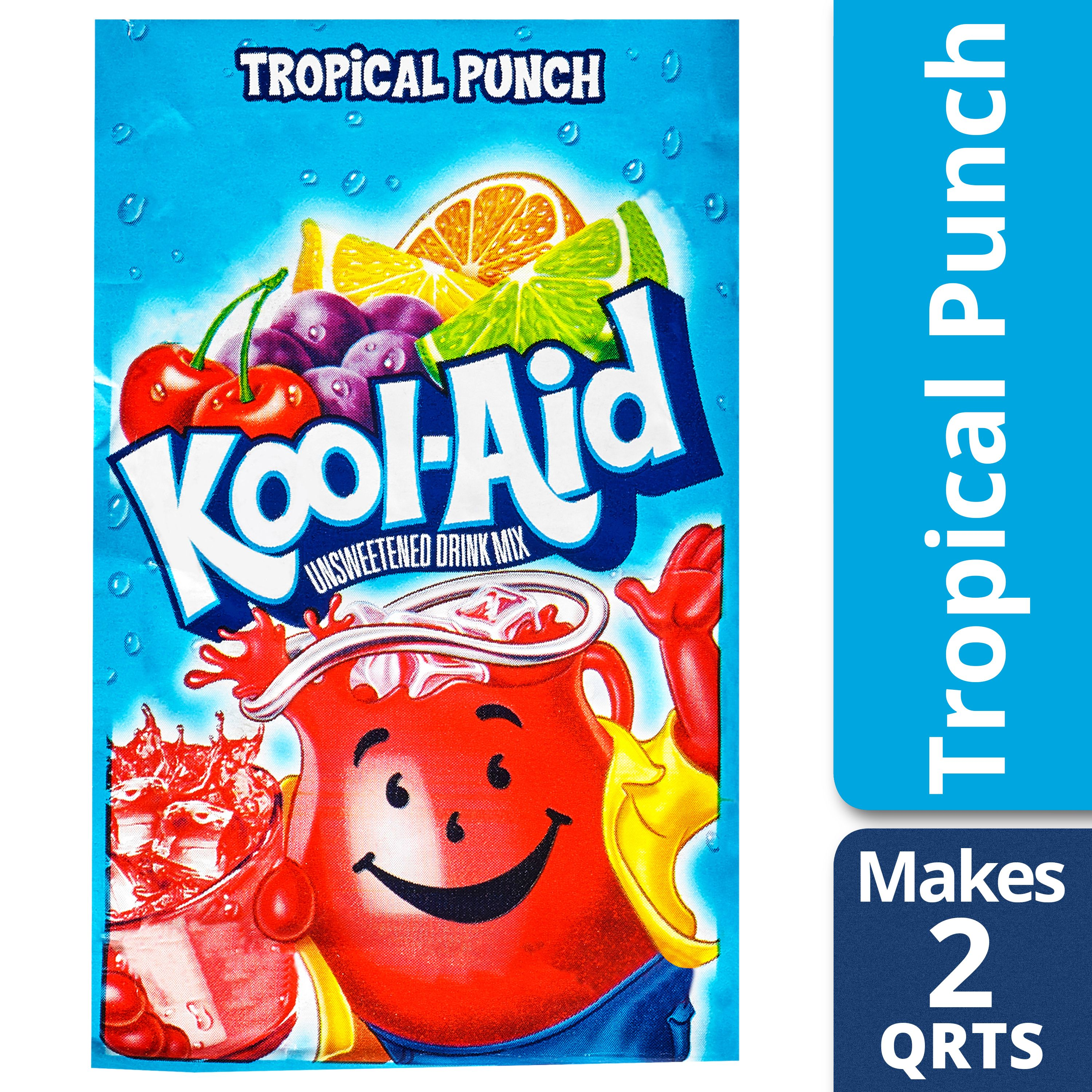 (3 Pack) Kool-Aid Unsweetened Tropical Punch Powdered Soft Drink, 0.16 oz Envelope