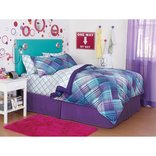 your zone reversible bedding set, surf plaid/plum crazy