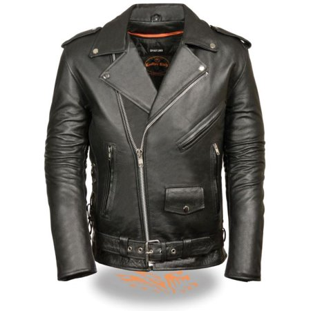 Milwaukee Leather Men's Classic Side Lace Police Style M/C Jacket