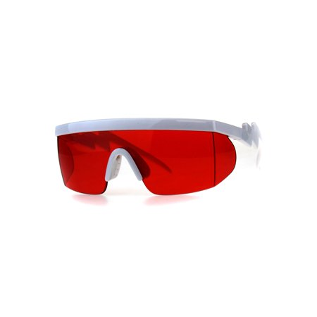 Flat Top Crooked Bolt Arm Goggle Style Pop Color Lens Shield 80s Sunglasses White (Flat Top Lenses)