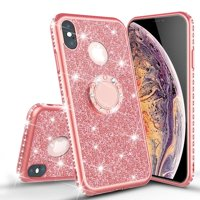 Apple iPhone Xs Max Case Glitter Cute Phone Case Kickstand Girls Women , Bling Diamond Bumper Ring Stand Protective Pink iPhone Xs Max - Rose Gold