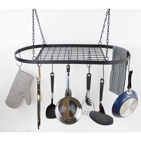 Low Ceiling Oval Pot Rack - Stainless Steel Practical Pots And Pans Hanging Rack Pot Racks That Hang On Ceiling Hanging Pot Holder Pot And Pan Organizer Rack Kitchen Organization Tool