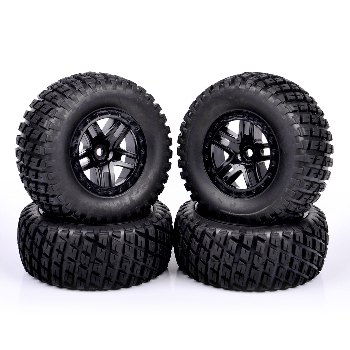 1 10 Short Course Truck Tires &Wheel Rim 4 pcs RC 12mm Hex For Traxxas SlASH by RUIBAITE