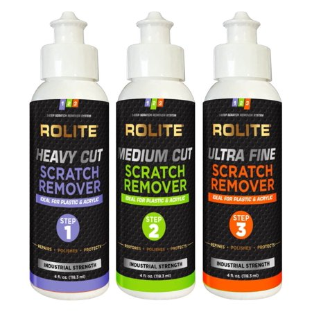 Rolite's 3 Step Scratch Removal System for Plastic & Acrylic (4 fl. oz.) with Heavy Cut, Medium Cut and Ultra Fine Combo Pack 4oz