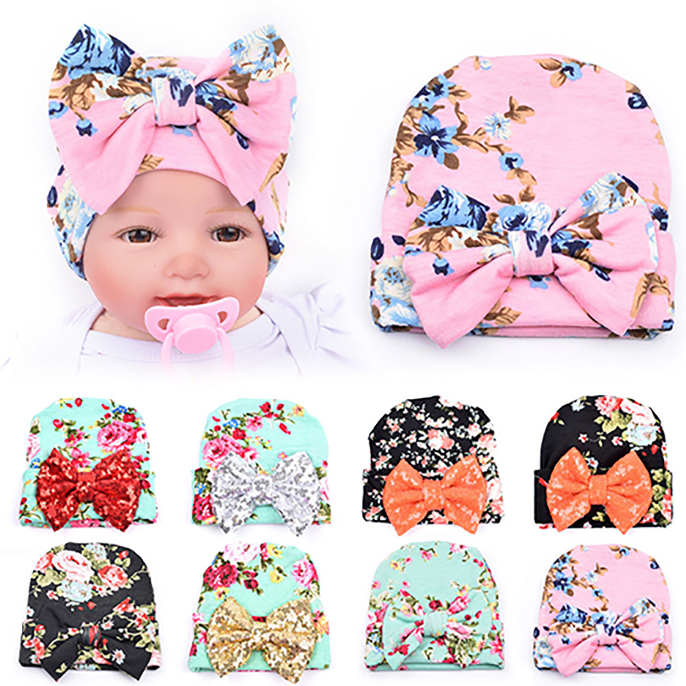Micelec Newborn Baby Infant Girl Toddler Bowknot Hospital Cap Cotton Floral Beanie Hat