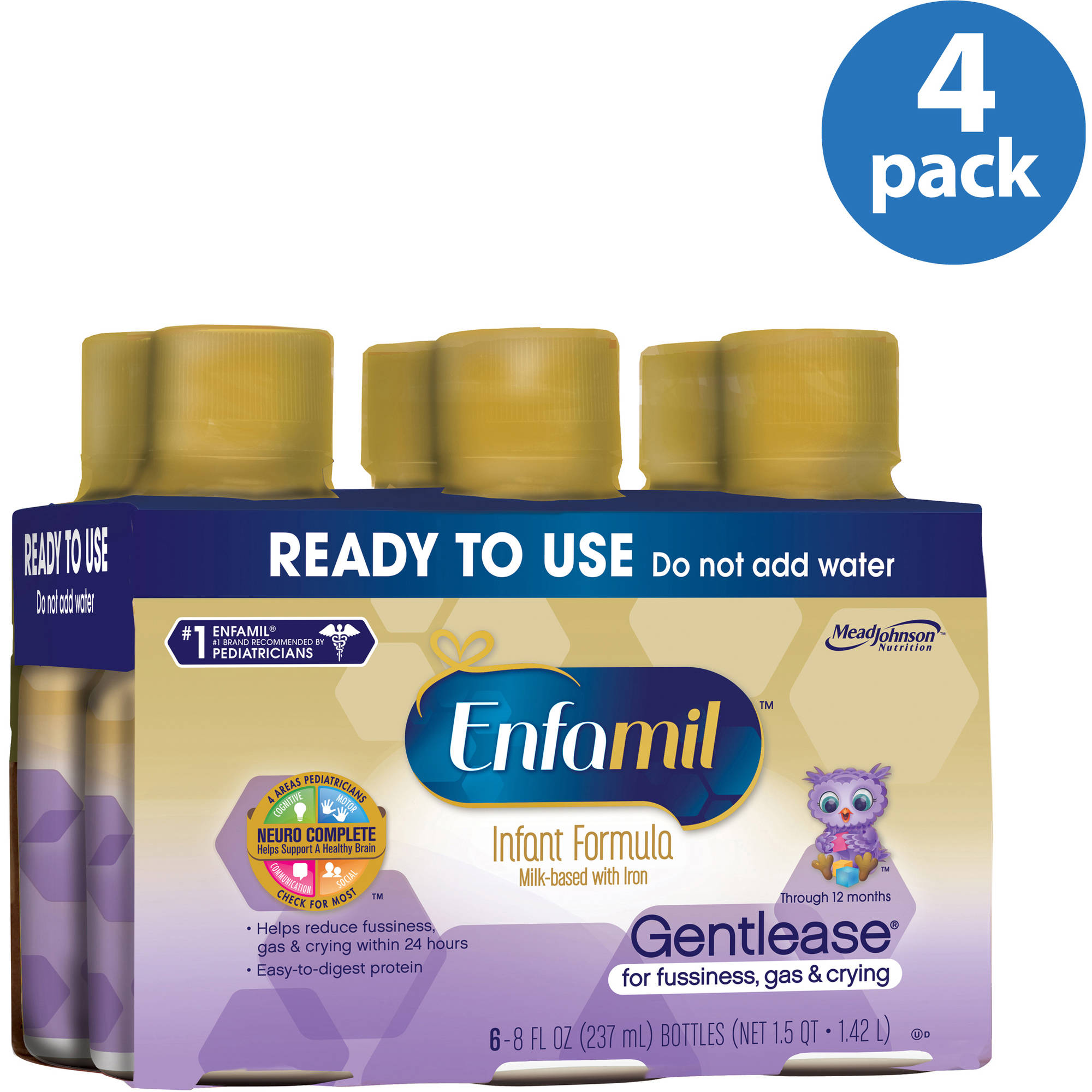 Enfamil Gentlease baby formula - Ready-to-Use 8 fl oz Plastic Bottles - 6ct, Pack of 4