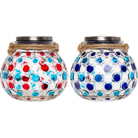 2 Pack GreenLighting Dotted Solar Jar Decorative LED Glass Table Lantern Light