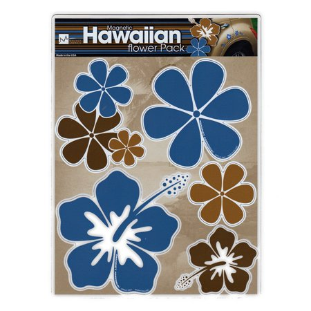 Magnet Variety Pack (5 Magnets) - Blue/Brown Hawaiian Flowers (Hawaii) - Refrigerators, Cars, Mailboxes, Decoration - 2