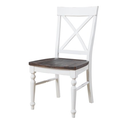 Emerald Home Mountain Retreat X-Back Dining Chair W/Wood Seat Top:Brn Base:White D601-20