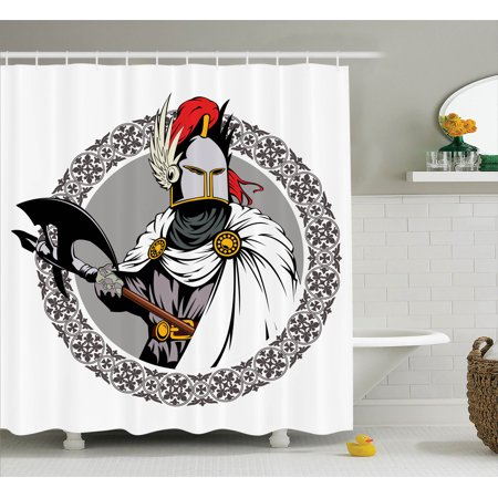 Medieval Decor Shower Curtain Set, Illustration Of The Medieval Knight With Traditional Costume And Ancient Mask Heroic Past, Bathroom Accessories, 69W X 70L Inches, By Ambesonne (Medieval Knight Mask)