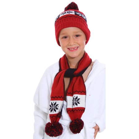 59304d9b107 BASILICA - Snowflake 2pcs Cute Boys Girls Baby Kid Toddler Warm Winter Red  Cap+Scarf Set - Walmart.com