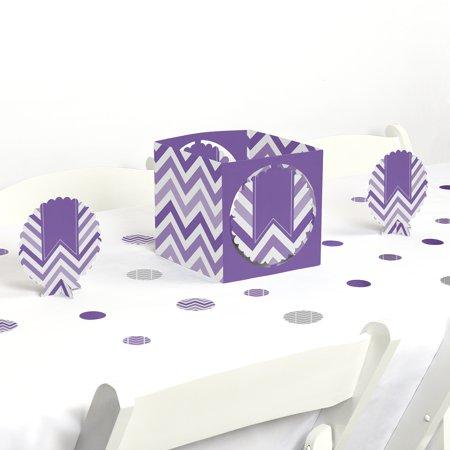 Chevron Birthday Decorations (Chevron Purple - Party Centerpiece & Table Decoration)