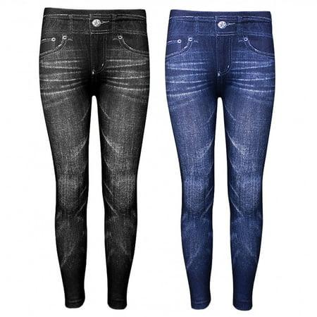 2 Pairs Girls Print Leggings Fashion Stretchy Pants Jeggings Blue Black S/M L/XL - Girls Sparkle Leggings