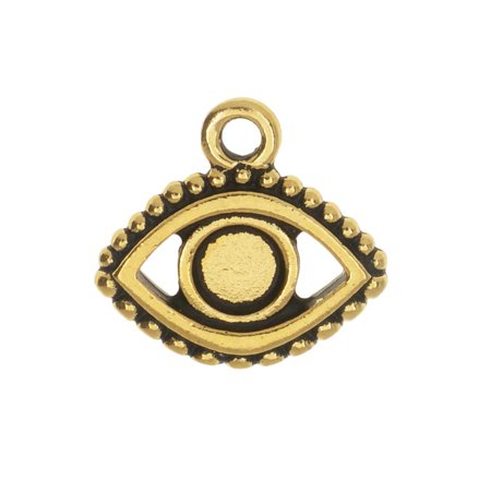 TierraCast Pewter Glue-In Charm, Evil Eye 15mm, 1 Piece, Antiqued Gold -