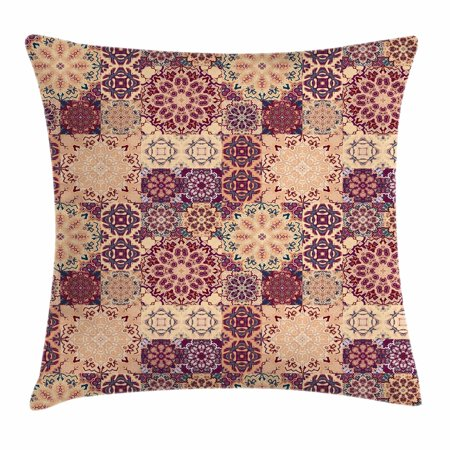 Moroccan Throw Pillow Cushion Cover, Grid Style Ornate Ceramic Style Tile Orient Vintage Inspirations, Decorative Square Accent Pillow Case, 16 X 16 Inches, Maroon Pale Orange Dark Blue, by Ambesonne
