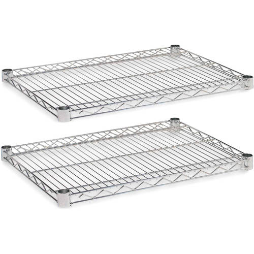 "Alera Industrial Wire Shelving Extra Wire Shelves, 24"" x 18"", 2-Pack, Available in Silver or Black"