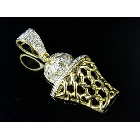 Jewelry Unlimited - Men s 10K Yellow Gold Real Diamond Basketball Pendant  Charm 0.60ct - Walmart.com e70ead421f27