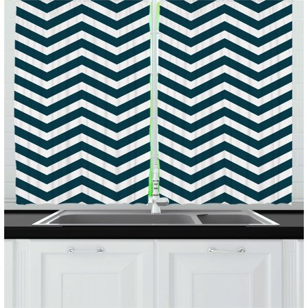 Navy Curtains 2 Panels Set, Zigzag Chevron Geometrical Design Lines Sea Waves Inspired Artwork Print, Window Drapes for Living Room Bedroom, 55W X 39L Inches, Navy Blue and White, by Ambesonne