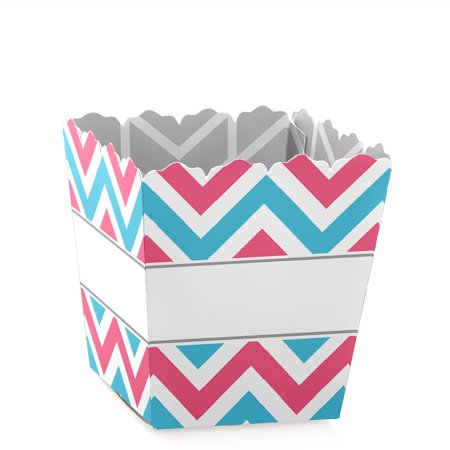 Chevron Gender Reveal - Party Mini Favor Boxes - Reveal Party Baby Shower Treat Candy Boxes - Set of 12 - Reveal Box