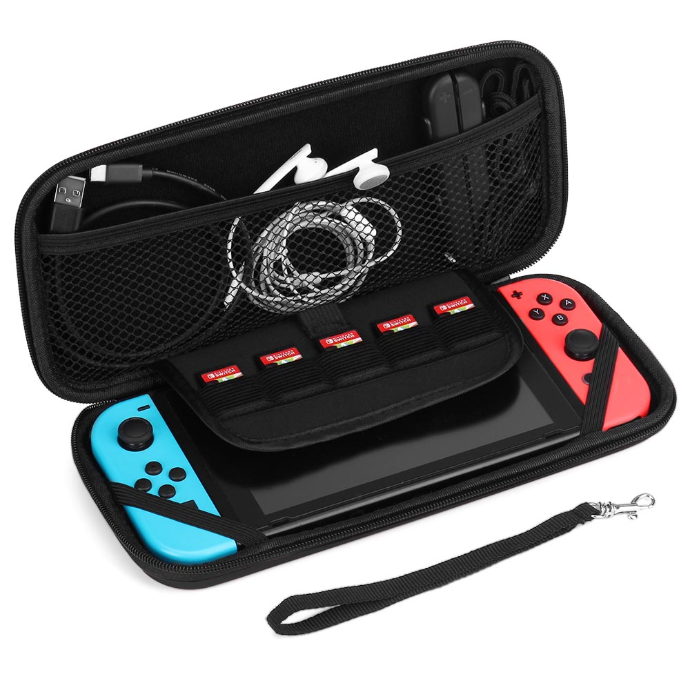 Nintendo Switch Case - Carrying Case Shell Pouch Protective Cover Portable Travel Case Bag with Micro SD Card Game Card Slot Storage Accessories for Nintendo Switch (Black)