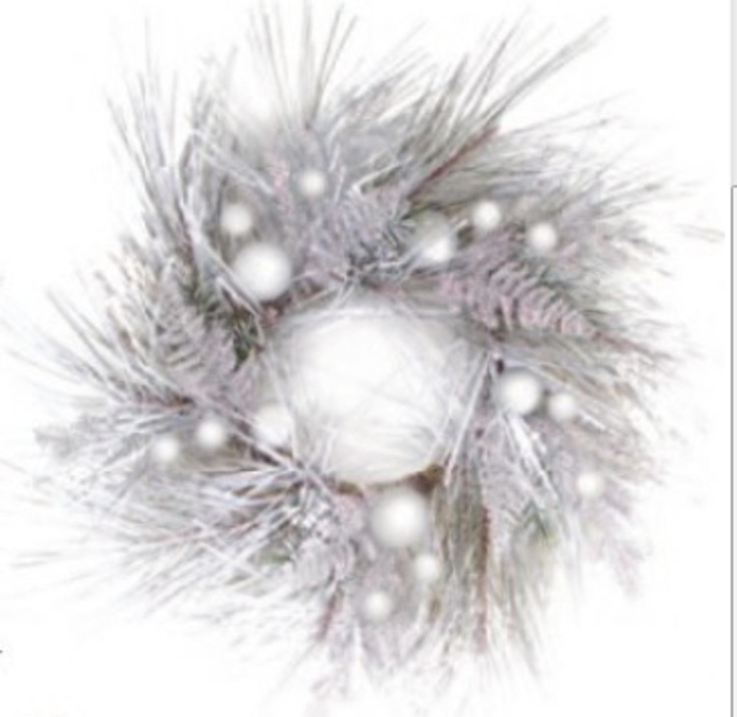 "Midwest 26"" Snowy Winter Glittered and Flocked Pine Branches with Ornaments Christmas Wreath"