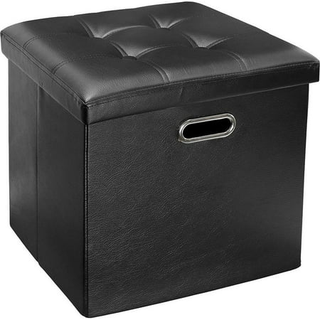 Greenco Faux Leather, Tufted, Ottoman Stool Seat and Foot Rest, Collapsible, Versatile Storage Box-Black ()